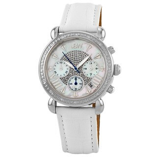 JBW Women's White Leather Stainless Steel Diamond Watch