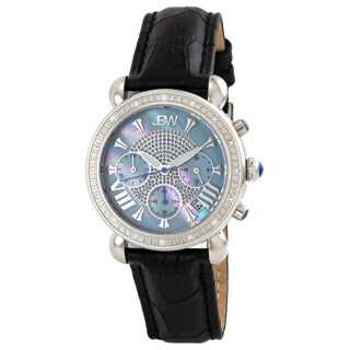 JBW Women's Blue Dial Black Leather Diamond Watch