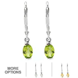De Buman Sterling Silver Genuine Peridot, Citrine or Moonstone Gemstone Earrings