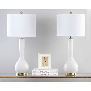 Safavieh Lighting 30.5-inch Mae Long Neck Ceramic White Table Lamps (Set of 2)