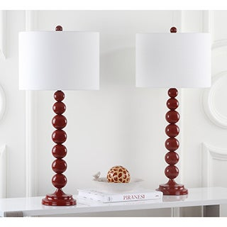 safavieh lighting 31inch jenna stacked ball red table lamps set of 2
