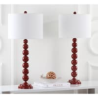 Safavieh Lighting 31-inch Jenna Stacked Ball Red Table Lamp (Set of 2)