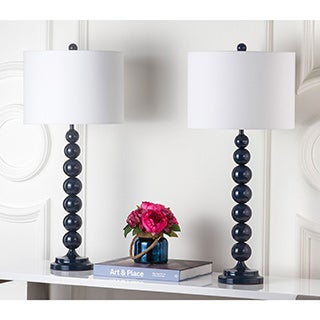 Safavieh Lighting 31-inch Jenna Stacked Ball Navy Table Lamp (Set of 2)