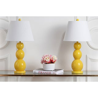 Safavieh Lighting 27.5-inch Jayne Three Sphere Glass Yellow Table Lamp (Set of 2)