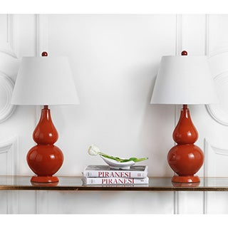 Safavieh Lighting 26.5-inch Cybil Double Gourd Orange Table Lamp (Set of 2)