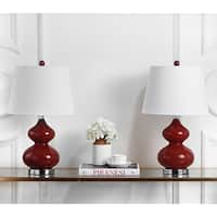 Safavieh Lighting 24-inch Eva Double Gourd Glass Red Table Lamp (Set of 2)