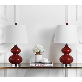 Buy red table lamps online at overstock our best lighting deals safavieh lighting 24 inch eva double gourd glass red table lamp set of 2 aloadofball Images