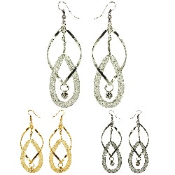 Kate Marie Rhinestone Twisted Interlocking Hoop Design Fashion Earrings