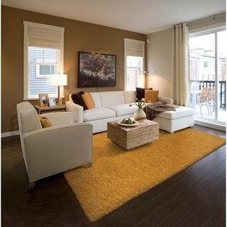 Indoor Gold Shag Area Rug