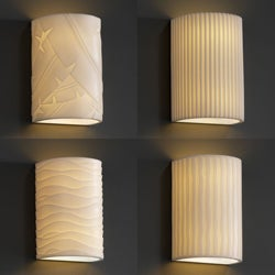 Justice Design Group 1-light Small Cylinder Faux Porcelain Outdoor Wall Sconce
