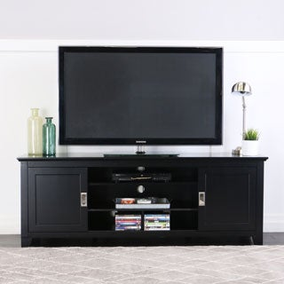 70-inch Black Wood TV Stand with Sliding Doors