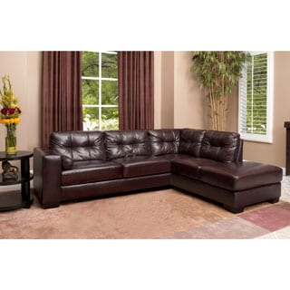 Abbyson Palermo Top Grain Leather Sectional Free
