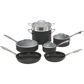 Dishwasher-Safe Anodized 11-Piece Cookware Set
