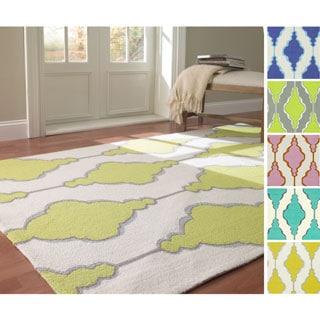 nuLOOM Handmade Swirls Trellis Wool Rug (5' x 8')