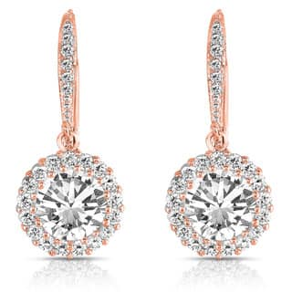 Collette Z Rose over Silver Cubic Zirconia Round Drop Earrings|https://ak1.ostkcdn.com/images/products/P15049390s.jpg?impolicy=medium