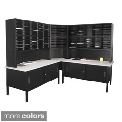 Marvel Mail Sorting Station 120 Adjustable Cubbies Corner with Cabinet