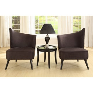 Flared Back Black Microfiber Accent Chair