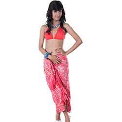 1 World Sarongs Women's Premium Heavyweight Pink Abstract Sarong (Indonesia)