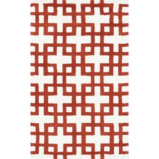 Microfiber Woven Harlow Ivory/ Rust Rug (2'3 x 3'9)