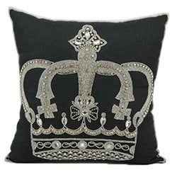 Mina Victory Luminescence Beaded Crown Black Throw Pillow (16-inch x 16-inch) by Nourison