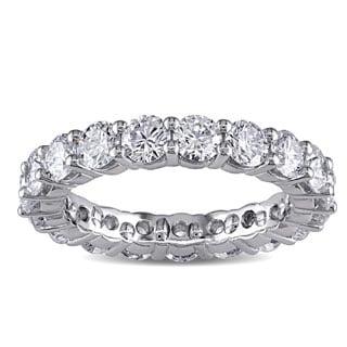 Miadora Signature Collection Platinum 3ct TDW Diamond Eternity Ring (F, VVS)