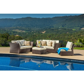 Corvus Oreanne 6-piece Sorrel Wicker Outdoor Seating Set with Pillows