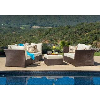 Corvus Oreanne Outdoor 6-piece Brown Wicker Sectional Sofa Set