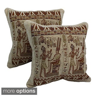 Blazing Needles Egyptian Hieroglyphs Chenille Corded Throw Pillows (Set of 2)