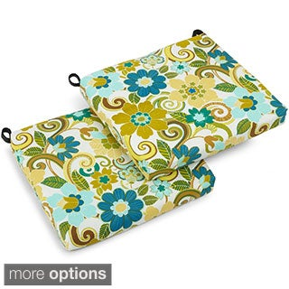 Blazing Needles Floral/ Stripe Print 19-inch Square Spun Poly Outdoor Cushions (Set of 2)