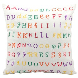 Mina Victory Lifestyle Repeated Alphabet Beige Throw Pillow (18-inch x 18-inch) by Nourison