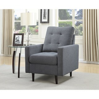Christies Home Living Mid Century Microfiber Blue-grey Accent Chair