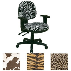 Office Star Animal Print Multi Controlled Sculpted Chair with Arms