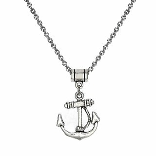 Jewelry by Dawn Unisex Pewter Anchor Stainless Steel Chain Necklace