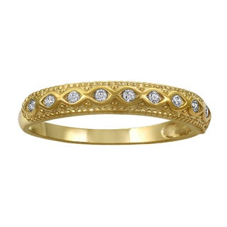 14k Yellow Gold 1/6ct TDW Diamond Band Ring