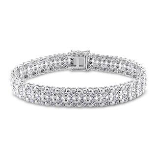 Miadora Sterling Silver 2ct TDW Diamond Tennis Bracelet