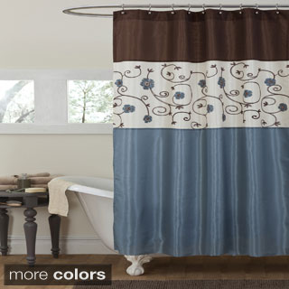 The Curated Nomad Lyon Floral Metallic Shower Curtain