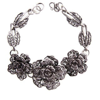 Handmade Miao Silver Three Rose Bracelet (China)