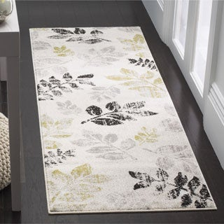 Safavieh Porcello Leaf Print Distressed Ivory/ Gold Runner Rug (2'4 x 6'7)