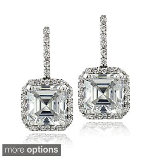 Icz Stonez Sterling Silver 4 7/8ct TGW Cubic Zirconia Square Earrings