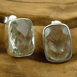 Sterling Silver 'Crystal Pool' Prasiolite Earrings (India)