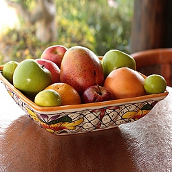 Handmade Talavera Ceramic Bowl 'Happy Tradition' (Mexico)