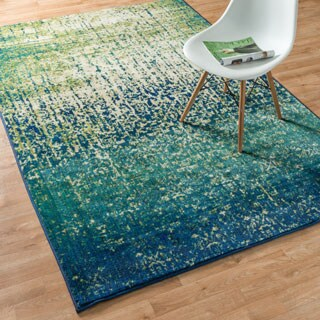Contemporary Blue/ Green Distressed Area Rug - 5'2 x 7'7