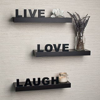 Porch & Den Montclair William Laminate 'Live, Love, Laugh' Inspirational Wall Shelves (Set of 3)