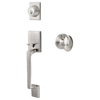 Sure-Loc Satin Nickel Front Entrance Handleset (Lever/knob interior trim options)