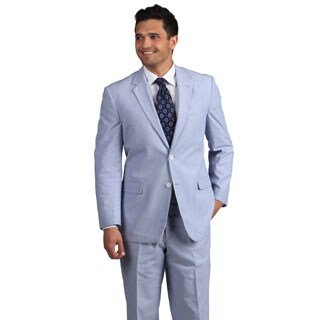 Adolfo Men's Blue and White Pinfeather 2-button Suit (2 options available)