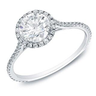 Auriya 14k Gold 1 1/2ctTDW Certified Round Diamond Halo Engagement Ring