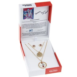 Whatever It Takes Katy Perry Double Coin Necklace/ Stud Set