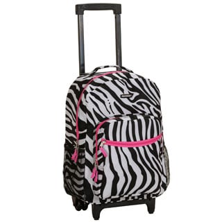 Rockland Designer Print Pink Zebra 17-inch Rolling Carry-on Backpack