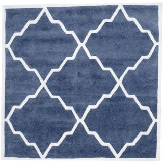 Herat Oriental Indo Hand-tufted Grey/ Ivory Wool Area Rug (6' x 6')
