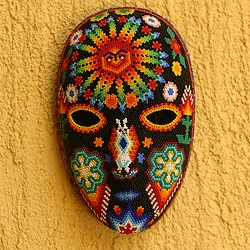 Handcrafted Beadwork 'Father Sun' Huichol Mask (Mexico)